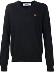 Comme Des Gara Ons Play Embroidered Heart Sweater Black