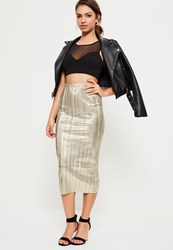 Missguided Gold Foil Pleated Midi Skirt