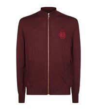 Billionaire Embroidered Logo Zip Up Sweater Male Plum
