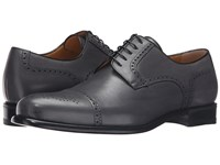 A. Testoni Cap Toe Leather Medallion Oxford Lead Men's Shoes Gray