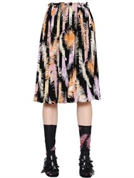 Emilio Pucci Feathers Print Silk Crepe De Chine Skirt