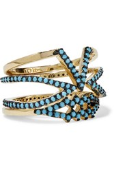 Noir Jewelry Set Of Three Gold Plated Turquoise Rings