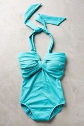 Anthropologie Seafolly Goddess Maillot Turquoise 10 Swimwear