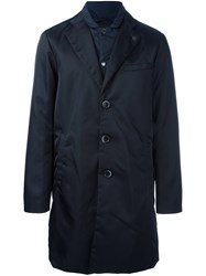 Emporio Armani Inset Detail Raincoat Blue