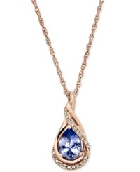 Macy's Tanzanite 5 8 Ct. T.W. And Diamond Accent Pendant Necklace In 14K Rose Gold