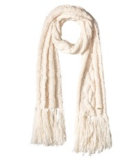 Cole Haan Chunky Cable Muffler With Fringe Ivory Scarves White