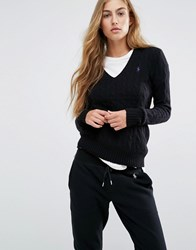 Polo Ralph Lauren V Neck Cable Knit Jumper Black
