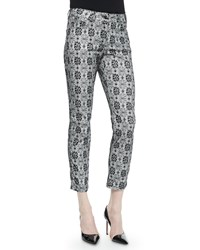 Escada Floral Lace Print Cropped Jeans Size 4 Black White