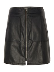 Girls On Film Pu Fit And Flare Skirt Black