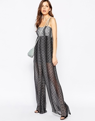 Bcbgeneration Bcbg Generation Wide Leg Jumpsuit In Dreamcatcher Stripe Black