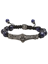Roman Paul Fleur De Lis Beaded Bracelet Blue