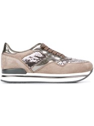 Hogan Sequined Lace Up Sneakers Brown