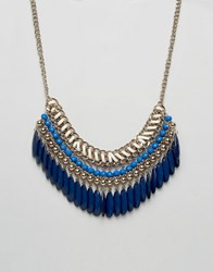 Oasis Multi Row Statement Necklace Navy Cream