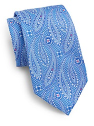 Saks Fifth Avenue Paisley Neat Silk Tie Blue