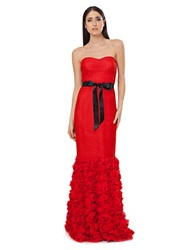 Js Collections Strapless Shirred Mesh Gown With Flowered Skirt