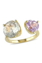 Round Cut Green Amethyst And Heart Cut Rose De France Ring Beige