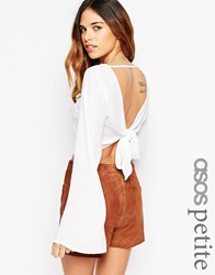 Asos Petite Kimono Sleeve Crop Top With Open Back And Tie Cream