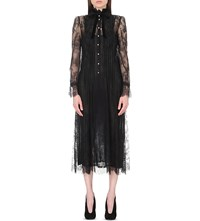 Philosophy Pleated Floral Lace Dress Black