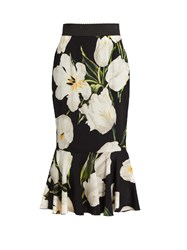 Dolce And Gabbana Tulip Print Stretch Silk Skirt White Multi