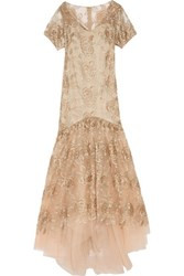 Mikael Aghal Embroidered Tulle Gown Beige