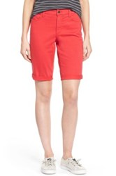 Nydj 'Briella' Cuffed Stretch Twill Shorts Petite Red