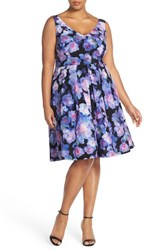 Plus Size Women's City Chic 'Floral Rain' Print Fit And Flare Dress