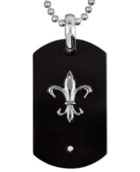 Macy's Men's Titanium And Black Enamel Necklace Fleur De Lis Diamond Accent Dog Tag Pendant