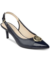 Tommy Hilfiger Jayla Pointed Toe Slingback Pumps Women's Shoes Navy