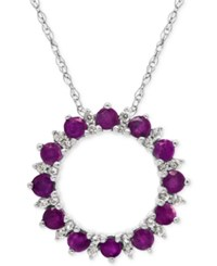 Macy's Amethyst 7 8 Ct. T.W. And White Topaz 1 5 Ct. T.W. Circle Pendant Necklace In Sterling Silver