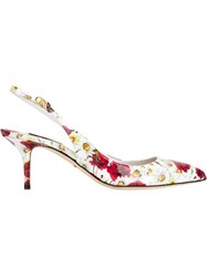 Dolce And Gabbana Daisy And Poppy Print Pumps White
