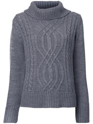 Guild Prime Cable Knit Turtleneck Jumper Grey