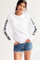 Urban Outfitters Script Long Sleeve Tee White
