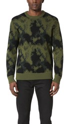 Public School Double Knit Camo Pullover Green