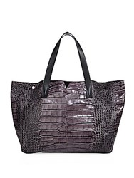 Vince Croc Embossed Leather Tote Anthracite