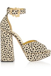Charlotte Olympia Chantale Cheetah Print Calf Hair Platform Sandals White