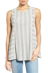 Women's Bobeau Sleeveless Embroidered Panel Swing Top Heather Grey White