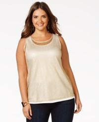 Inc International Concepts Plus Size Metallic Mesh Tank Top Only At Macy's Liquid Gold