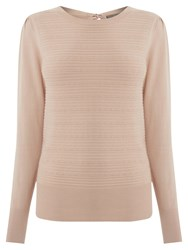 Oasis Pointelle Bow Back Jumper Light Neutral