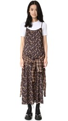 R 13 Grunge Slip Dress Black Floral And Brown Plaid