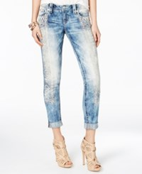 Miss Me Aztec Embroidered Acid Wash Jeans Light Blue