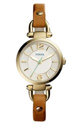 Women's Fossil 'Georgia' Round Leather Strap Watch 26Mm