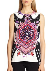 Emilio Pucci Silk Cady Sleeveless Top Black Multi
