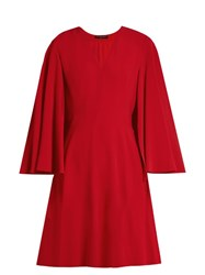 Alexander Mcqueen V Neck Leaf Crepe Cape Dress Red