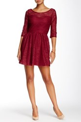 Want And Need 3 4 Length Sleeve Aztec Crochet Skater Dress Red