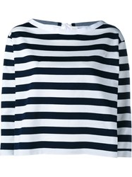 Moncler Wide Stripe Long Sleeve Top Blue