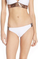 Luxe By Lisa Vogel Women's Luxe 'Premier' Metallic Sides Bikini Bottoms