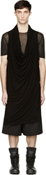 Ma Julius Black Draping Cowl Neck Unisex Tunic