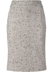 Chanel Vintage Boucle Pencil Skirt Nude And Neutrals