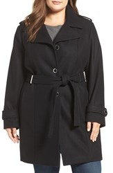 Calvin Klein Plus Size Women's Single Breasted Wool Blend Trench Coat