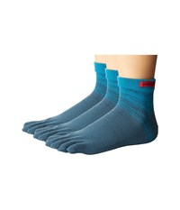 Injinji Sport Original Weight Micro 3 Pack Cobalt Turquoise No Show Socks Shoes Blue